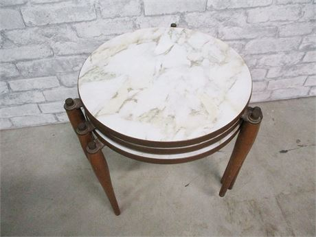 LOT OF 3 VINTAGE STACKING TABLES