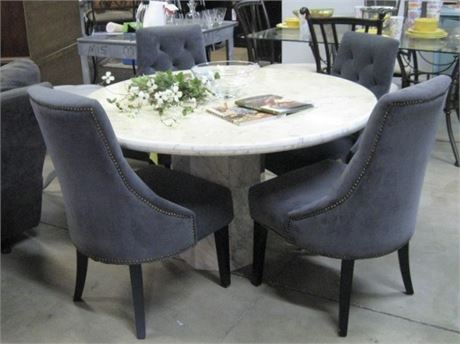 MARBLE DINING TABLE WITH 4 UPHOLSTERED CHAIRS