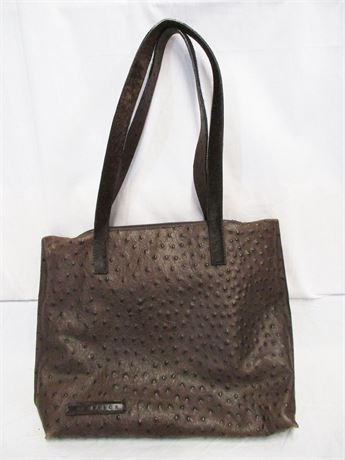 VINTAGE FALOR LE BORSE EMBOSSED LEATHER OSTRICH TOTE