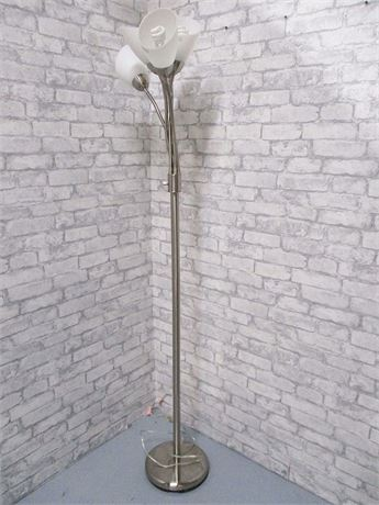 BRUSHED ALUMINUM 5-LIGHT FLOOR LAMP
