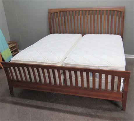 Ethan Allen King Size Bed with Twin Mattresses and Box Springs