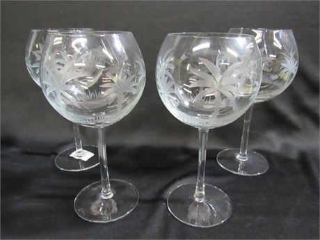 SHANNON ETCHED GLASS CRYSTAL STEMWARE - 4 PIECES