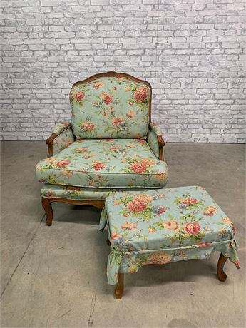 Vintage Style Floral Chair/Ottoman/ Pillows