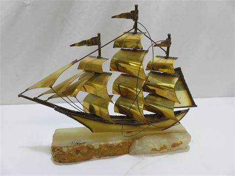 Vintage DeMott Brass Clipper Ship On Agate Base (Signed)