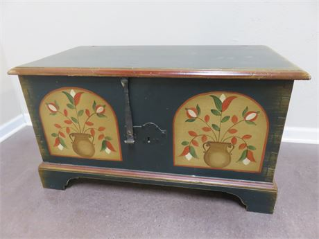 Vintage Hand-Painted Wooden Trunk