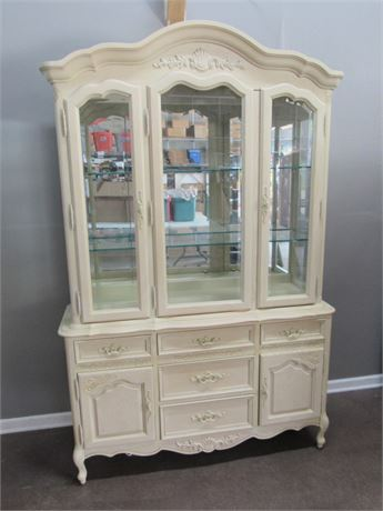 Nice 2 Piece Stanley Furniture French Provincial China Hutch with Beveled Glass