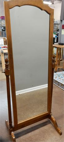 Ethan Allen Wood Cheval Mirror on Stand