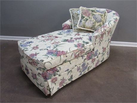Pembroke Chair Co. Floral Upholstered Chaise Lounge Chair