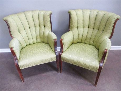 PAIR OF VINTAGE ARM CHAIRS WITH NAILHEAD TRIM