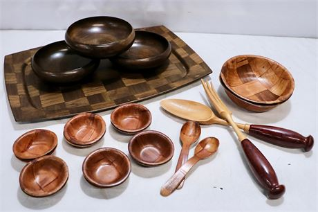 Winco Woven Wood bowls, serving Tray & more wood decorative utensils
