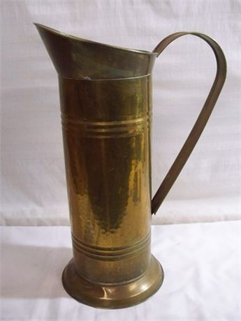 TALL VINTAGE BRASS COAL SKUTTLE/UMBRELLA STAND