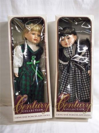 2 PORCELAIN CENTURY COLLECTION DOLLS WITH BOXES