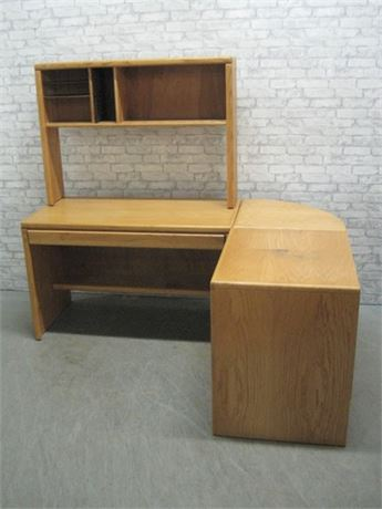 L-SHAPED DESK SYSTEM - OAK DESK WITH HUTCH AND PRINTER TABLE