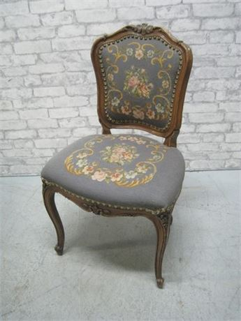 NICE ANTIQUE VICTORIAN CARVED WOOD CHAIR WITH NEEDLEPOINT FABRIC & NAILHEAD TRIM
