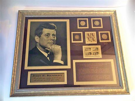 John F. Kennedy Framed Stamp & Coin Collection