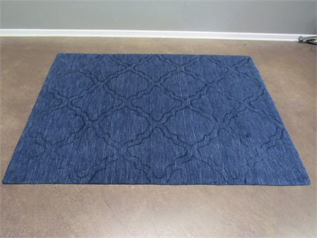 Blue Area Rug - 80% Wool, 20% Cotton