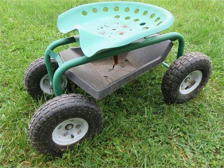 Rolling Tractor Seat Garden Cart