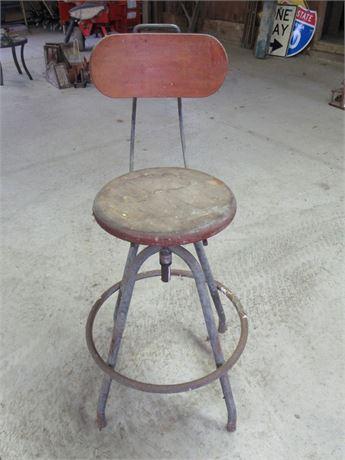 Vintage Adjustable Height/Swivel Shop Stool