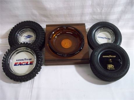 GOODYEAR TIRE ASHTRAY/PENHOLDER LOT - 5 PIECES