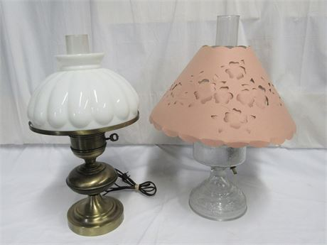 2 Vintage Electric Kerosene/Oil Style Lamps