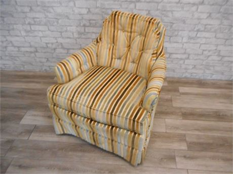 VINTAGE SILVER-CRAFT FURNITURE CO. STRIPED VELVET OCCASIONAL CHAIR