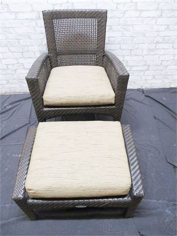 OUTDOOR CHAIR AND OTTOMAN BY WOODARD