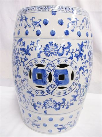 BLUE AND WHITE CHINA GARDEN STOOL