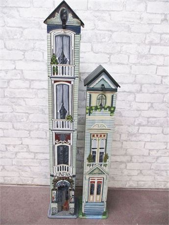LOT OF 2 DECORATIVE STORAGE TOWERS