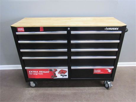 Like New Husky 10 Drawer Tool Chest on Casters with Wood Top