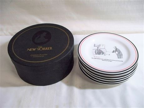 6 - THE NEW YORKER CHEESE PLATES WITH ORIGINAL BOX