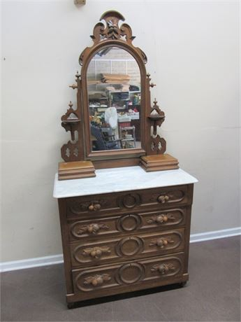 BEAUTIFUL ANTIQUE VICTORIAN MARBLE TOP DRESSER WITH MIRROR