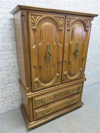 SUMTER Distressed Oak Highboy Armoire Chest