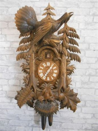 INCREDIBLE LARGE ONE OF A KIND HAND-CARVED REGULA CUCKOO CLOCK - WEST GERMANY