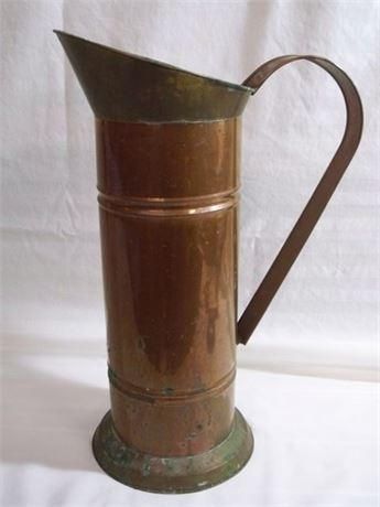 TALL VINTAGE BRASS AND COPPER COAL SKUTTLE/UMBRELLA STAND