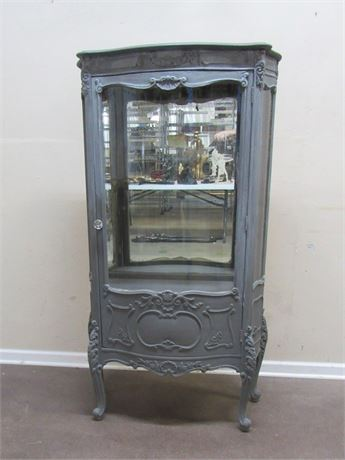 REFINISHED ANTIQUE CURIO CABINET BOWED FRONT AND SIDE GLASS