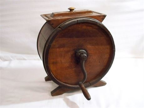 ANTIQUE WOOD BARREL BUTTER CHURN