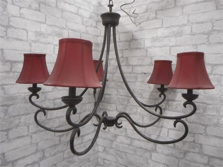 5 LIGHT WROUGHT IRON CHANDELIER