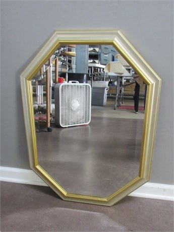Beveled Glass Mirror with Silver and Gold Finished Frame