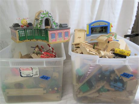 2 LARGE BINS OF WOOD AND PLASTIC TOYS - TO MUCH TO LIST