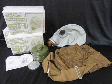 Lot of 4 EVIRSTAR GP-5 Civil Gas Mask Kits - SIZE M