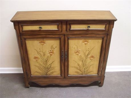 NICE CREDENZA WITH FLORAL PAINTED MOTIF
