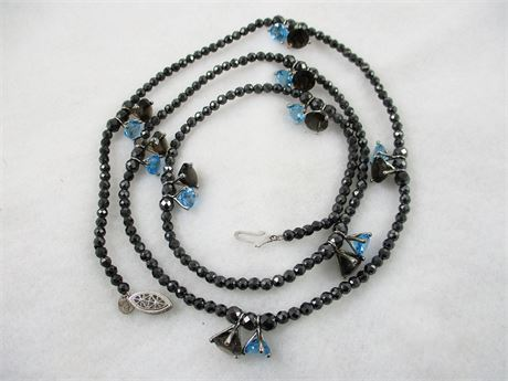 "36"" MARCASITE NECKLACE WITH BLUE TOPAZ AND SMOKY QUARTZ STONES"