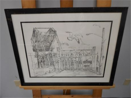 SIGNED FRAMED AND DOUBLE MATTED DRAWING - MOVEABLE/DRAW BRIDGE - JOHN E. POTI