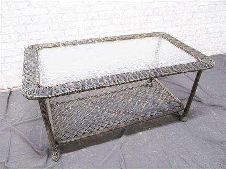 OUTDOOR WICKER AND GLASS TABLE