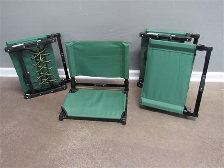 4- The Stadium Chair - Metal and Green Canvas Bleacher Seats