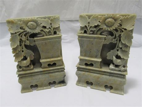 Vintage Pair of Oriental/Asian Style Floral Soapstone Bookends