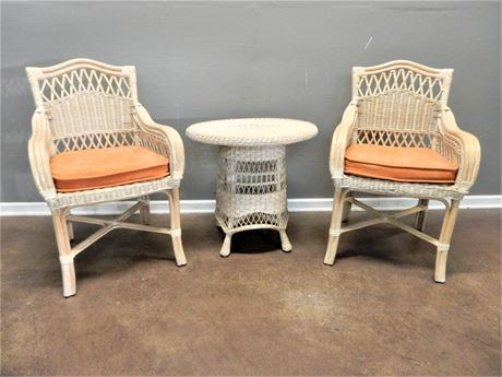 Wicker / Rattan Patio / Sunroom Chairs Pair & Table