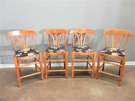 Wood / Fabric Counter / Bar Stools Set (4)