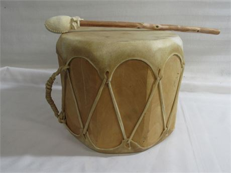 Native American Rawhide Log Drum and Mallet