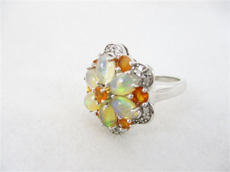 STERLING SILVER AND OPAL COCKTAIL RING - SIZE 7